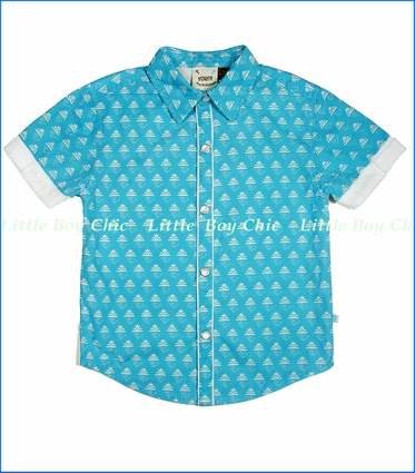 Fore!!, Anchor Bowling Shirt in Blue (c)