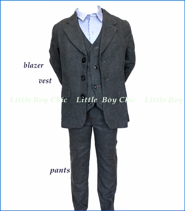 Fore!! , Charcoal Brush 3-Piece Suit in Grey