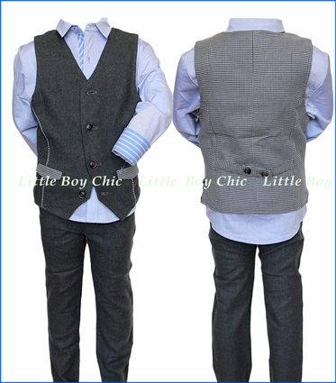 Fore!! , Charcoal Flannel Pant and Vest in Grey