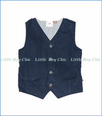 Fore!!, Corduroy Flannel Dotted Vest in Navy