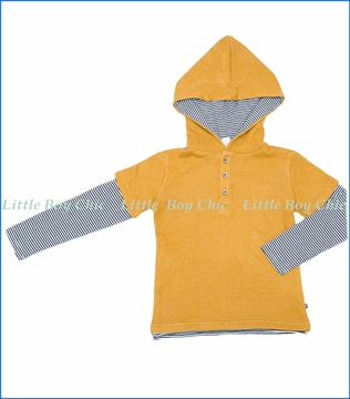 Fore!!, L/S 2fer Fashion Hoodie in Mustard