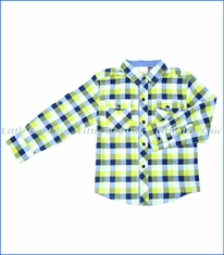 Fore!!, L/S Flannel Plaid Shirt w/ Rolled Cuff in Yellow/Navy