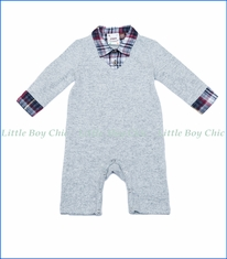 Fore!! , L/S Knit Sweater 2fer Romper in Plaid and Grey