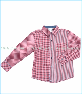 Fore!!, L/S Pattern Block Check & Stripe Shirt w/ Rolled Cuff in Red