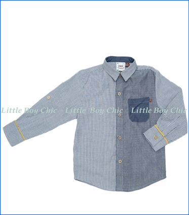 Fore!!, L/S Pattern Block & Stripe Shirt w/ Rolled Cuff in Grey