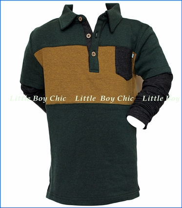 Fore!! , LS Polo in Forest Gold Block in Green