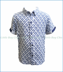 Fore!! , S/S Arrow Print Shirt in Blue