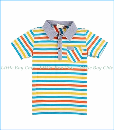 Fore!! , S/S Stripe Polo Shirt in Multicoloured