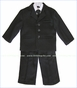 Fouger, Black Pinstripe Suit Jacket with Vest, Pants, Shirt and Tie (c)