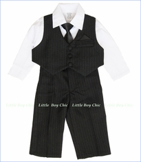 Fouger, Black Pinstripe Vest Suit and Pants with Shirt and Tie (c)