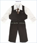 Fouger, Chocolate Pinstripe Vest Suit and Pants with Shirt and Tie (c)