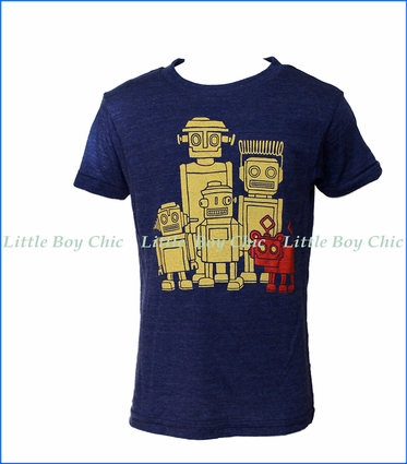 Gnome, Vintage Robot Family T-Shirt in Indigo