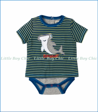Hatley, 2fer Shark Applique Onesie in Blue