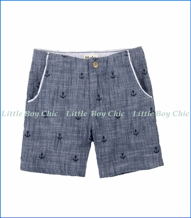 Hatley, Anchor Print Chambray Shorts in Blue