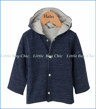 Hatley, Baby Games Reversible Button Down Hoodie in Blue