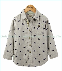 Hatley, Flannel Dino Button Down Shirt in Grey Mélange
