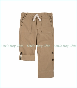 Hatley, Khaki Roll Up Pants in Beige