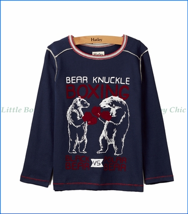 Hatley, L/S Bear vs Bear Boxing T-Shirt in Blue