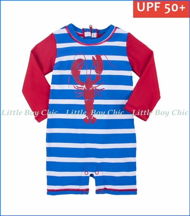 Hatley, L/S Lobsters Baby Rash Guard in Blue