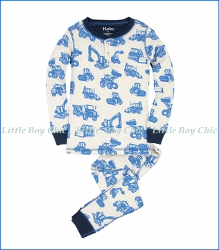 Hatley, L/S Silhouette Diggers Organic Henley PJ Set in White