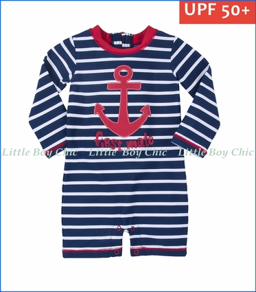 Hatley, L/S Vintage Nautical Baby Rashguard in Blue