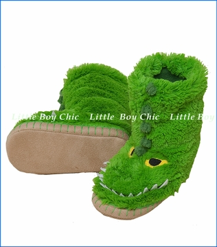 Hatley Little Blue House, Alligator Slippers in Green