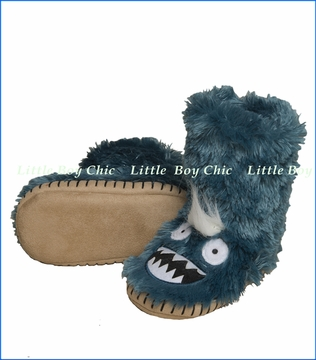 Hatley Little Blue House, Ice Monster Slippers in Blue