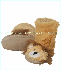 Hatley Little Blue House, Lion Slippers in Brown
