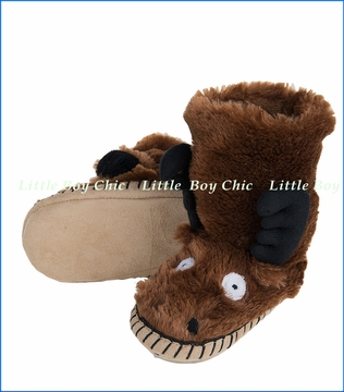 Hatley Little Blue House, Moose Slippers in Brown