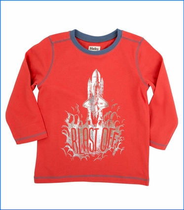 Hatley, LS Blast Off Graphic T-Shirt in Red