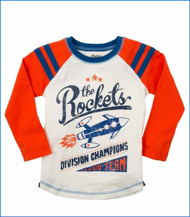 Hatley, LS Rockets Raglan T-Shirt in Orange