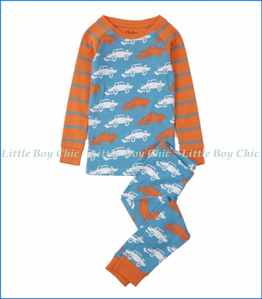 Hatley, Organic Cotton Derby Cars Raglan PJ Set in Blue