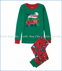 Hatley, Organic Cotton Magical Christmas Train Appliqué PJ Set in Green