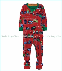 Hatley, Organic Cotton Magical Christmas Train Footed Coverall in Red