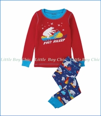 Hatley, Organic Cotton Polar Bear Snowmobile Tricks Appliqué PJ Set  in Red