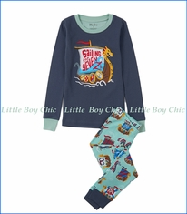 Hatley, Organic Cotton Sailing the Seven Seas PJ Set in Blue