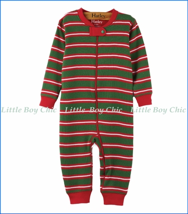 Hatley, Organic Cotton Santa Stripe Waffle Coveralls in Green