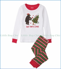 Hatley, Organic Cotton Santa Stripes Appliqué Waffle PJ Set in White