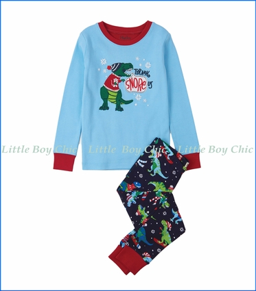 Hatley, Organic Cotton Winter Sports T-Rex Appliqué PJ Set in Blue
