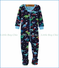 Hatley, Organic Cotton Winter Sports T-Rex Footed Coverall in Blue