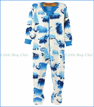 Hatley, Organic Cotton Woolly Mammoth Footed Coveralls in Blue