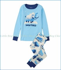 Hatley, Organic Cotton Woolly Mammoths Appliqué PJ Set in Blue