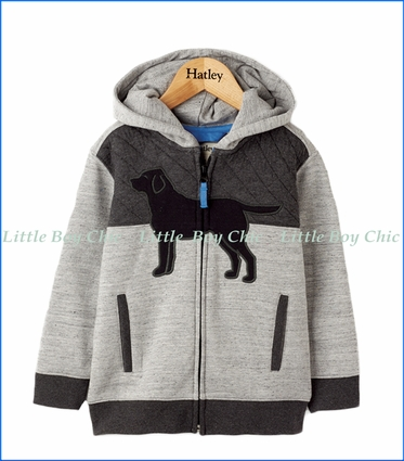 Hatley, Quilted Color Block Lab Hoodie in Grey