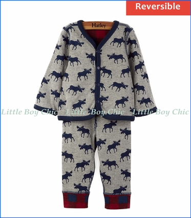 Hatley, Reversible Roaming Moose & Plaid Pants
