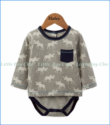 Hatley, Roaming Moose Long Sleeve One in Off-White