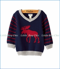 Hatley, Roaming Moose V-Neck Sweater in Navy