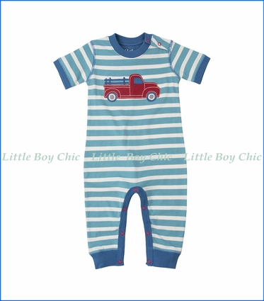 Hatley, S/S Heavy Load Striped Applique Romper in Blue