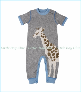 Hatley, S/S Safari Applique Romper in Grey
