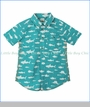 Hatley, S/S Shark Print Dress Shirt in Turquoise