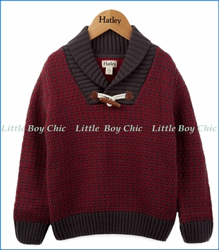 Hatley, Shawl Collar Toggle Sweater in Maroon